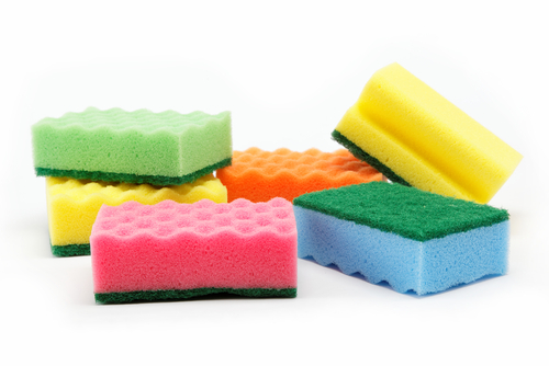 Kitchen Sponges on White Background