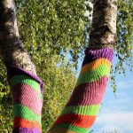 Tree trunks covered in bright knits