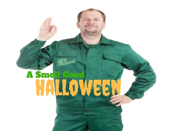 "plumber in green uniform with ""George Brazil"" logo on right pocket making ""three-oh"" sign"